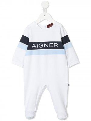 Ромпер с логотипом Aigner Kids. Цвет: синий
