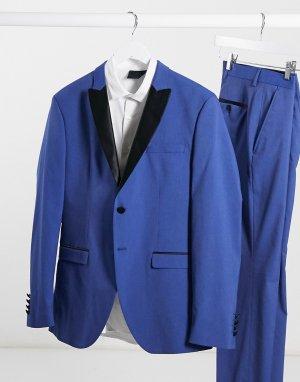 Синий приталенный пиджак-смокинг -Голубой Selected Homme