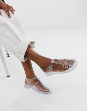 Прозрачные рыбацкие сандалии из гибкого пластика Fuller ASOS DESIGN. Цвет: очистить