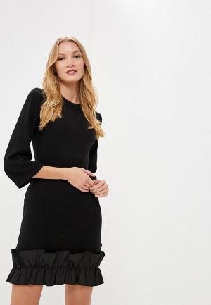 Платье LOST INK RUFFLE HEM RIB WAIST DRESS. Цвет: черный
