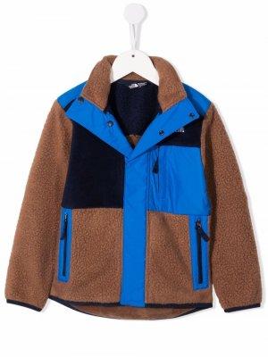 Фактурная куртка в стиле колор-блок The North Face Kids. Цвет: коричневый