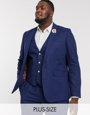 Льняной приталенный пиджак Plus Wedding-Темно-синий Gianni Feraud