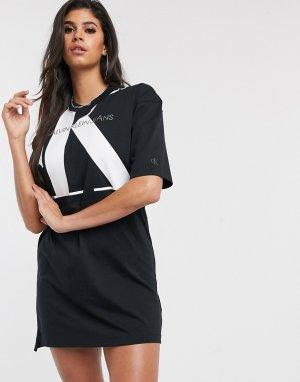 Черное платье-футболка с большим логотипом -Черный Calvin Klein Jeans