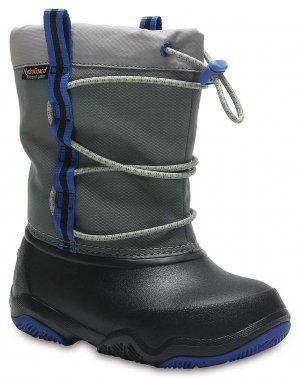 Зимние сапоги детские CROCS Kids Swiftwater Waterproof Boot Black/Blue Jean (Черный/Синий) арт. 204657. Цвет: черный/синий