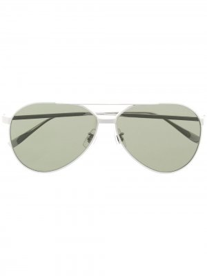 Солнцезащитные очки-авиаторы Dunhill. Цвет: 004 серебристый серебристый green
