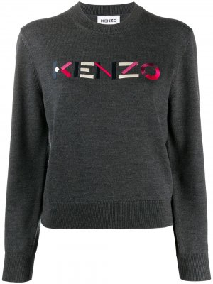 Джемпер с вышитым логотипом Kenzo. Цвет: серый