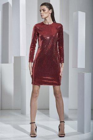 Коктейльное платье расшитое пайетками VASSA&Co. Цвет: красный