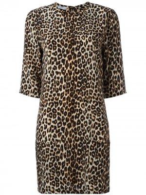 Платье с леопардовым принтом Equipment. Цвет: черный