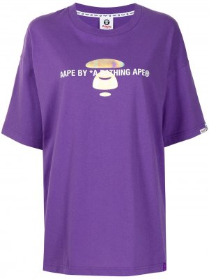 Футболка с логотипом AAPE BY *A BATHING APE®. Цвет: фиолетовый