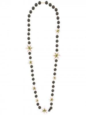 Бусы с декором в форме лилий Dolce & Gabbana. Цвет: белый