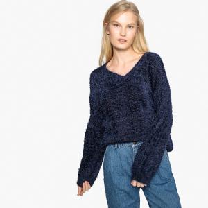 Пуловер однотонный из ворсистого трикотажа BEST MOUNTAIN. Цвет: темно-синий