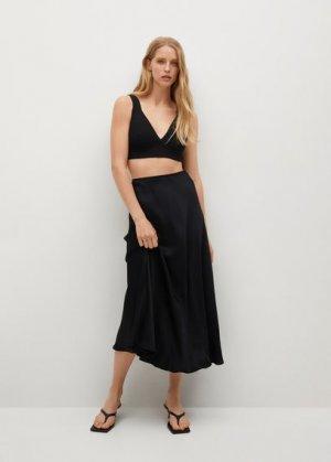 Сатиновая миди-юбка - Laura Mango. Цвет: черный