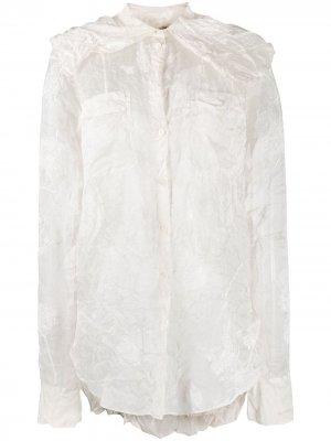 Рубашка с жатым эффектом и цветочным узором Nina Ricci. Цвет: белый