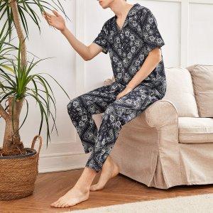 Мужской Пижама с принтом пейсли на пуговицах SHEIN. Цвет: черный и белый
