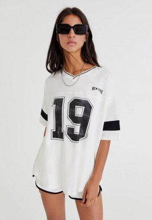 Футболка Pull&Bear. Цвет: белый