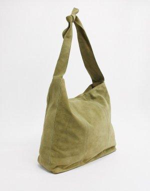 Большая замшевая сумка-шоппер цвета хаки -Зеленый ASOS DESIGN