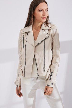 Женская Кожаная куртка 0207 INA VOKICH. Цвет: белый