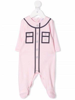 Пижама с контрастной окантовкой Chiara Ferragni Kids. Цвет: розовый