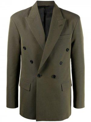 Двубортный пиджак с заостренными лацканами Acne Studios. Цвет: зеленый