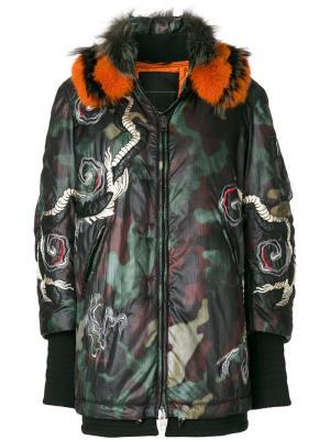 Куртка-бомбер со съемным воротником из меха лисы Ermanno Scervino. Цвет: зелёный