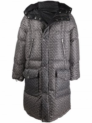 Двустороннее пальто с монограммой Balmain. Цвет: черный