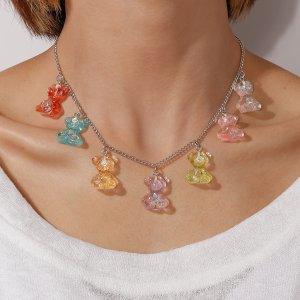 Ожерелье с медведем SHEIN. Цвет: многоцветный