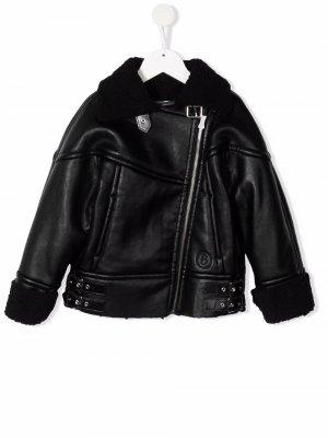 Faux-leather biker jacket MM6 KIDS. Цвет: черный