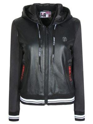 Куртка кожаная комбинированная Plein Sport. Цвет: разноцветный