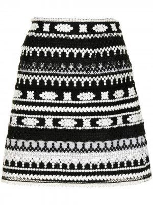 Мини-юбка с кружевом Ermanno Scervino. Цвет: черный