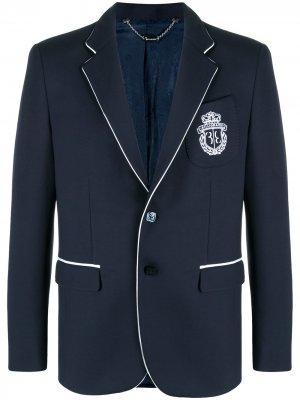 Однобортный пиджак с вышивкой Billionaire. Цвет: синий
