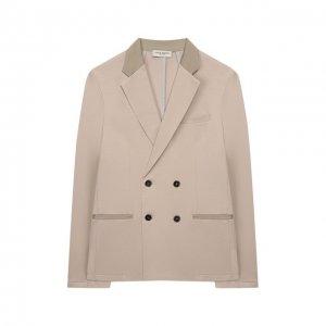 Хлопковый пиджак Paolo Pecora Milano. Цвет: бежевый