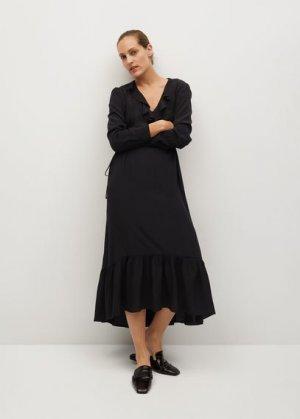 Миди-платье с воланами - Noir Mango. Цвет: черный