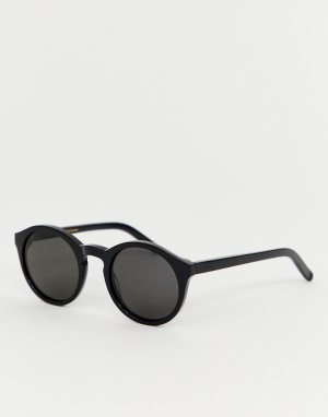 Солнцезащитные очки в круглой черной оправе Barstow-Черный Monokel Eyewear