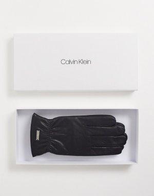 Кожаные перчатки в подарочной упаковке -Черный Calvin Klein