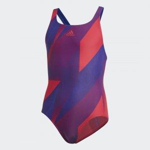 Слитный купальник Girls Graphic Performance adidas. Цвет: розовый