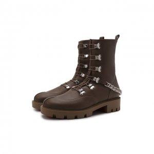 Кожаные ботинки Horse Christian Louboutin. Цвет: коричневый