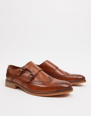 Светло-коричневые кожаные монки на натуральной подошве -Коричневый цвет ASOS DESIGN