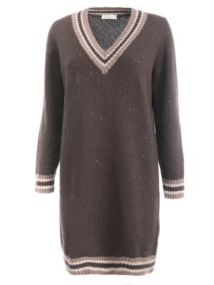 Удлиненный пуловер с пайетками Panicale. Цвет: коричневый