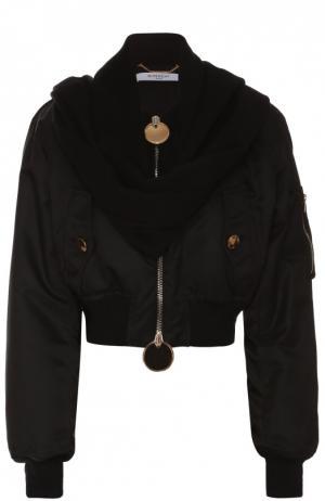 Укороченный бомбер с кашемировым шарфом Givenchy. Цвет: черный