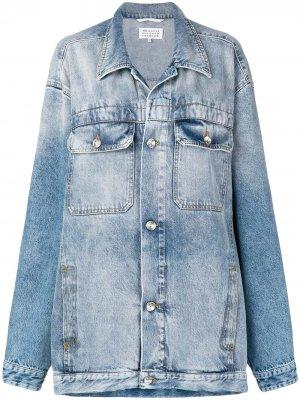 Джинсовая куртка в стиле оверсайз Maison Margiela. Цвет: синий