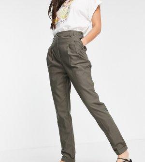 Узкие брюки-галифе с завышенной талией из льна цвета хаки ASOS DESIGN Tall-Зеленый цвет Tall