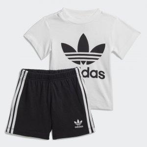 Комплект: футболка и шорты Trefoil Originals adidas. Цвет: черный