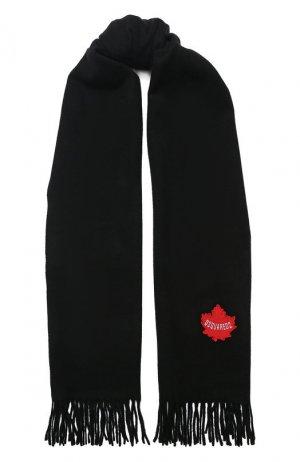 Шерстяной шарф Dsquared2. Цвет: черный