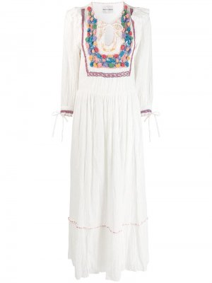 Платье макси со вставкой в технике кроше Antik Batik. Цвет: белый