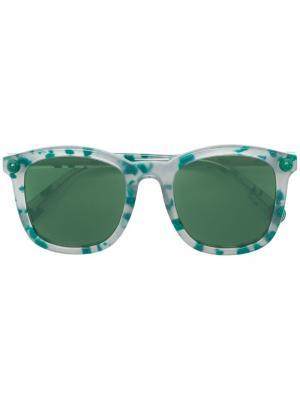 Солнцезащитные очки в квадратной оправе Christopher Kane Eyewear. Цвет: зеленый