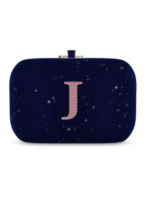 Сумка Slide Lock Customizable Monogram Judith Leiber. Цвет: синий