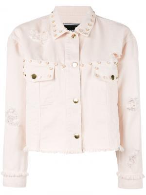 Джинсовая куртка с заклепками Marco Bologna. Цвет: розовый и фиолетовый