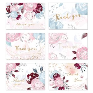 6 наборов Поздравительная открытка с цветочным принтом и конверт SHEIN. Цвет: многоцветный
