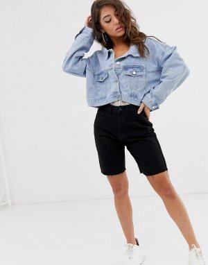 Синяя укороченная джинсовая куртка -Синий Missguided