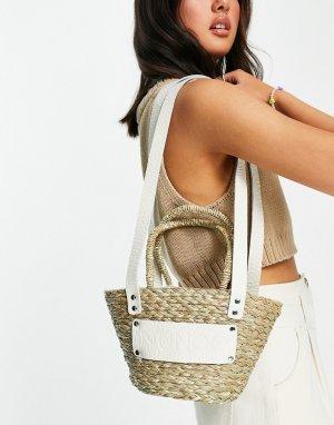 Пляжная соломенная сумка бежевого цвета через плечо -Светло-бежевый Nunoo